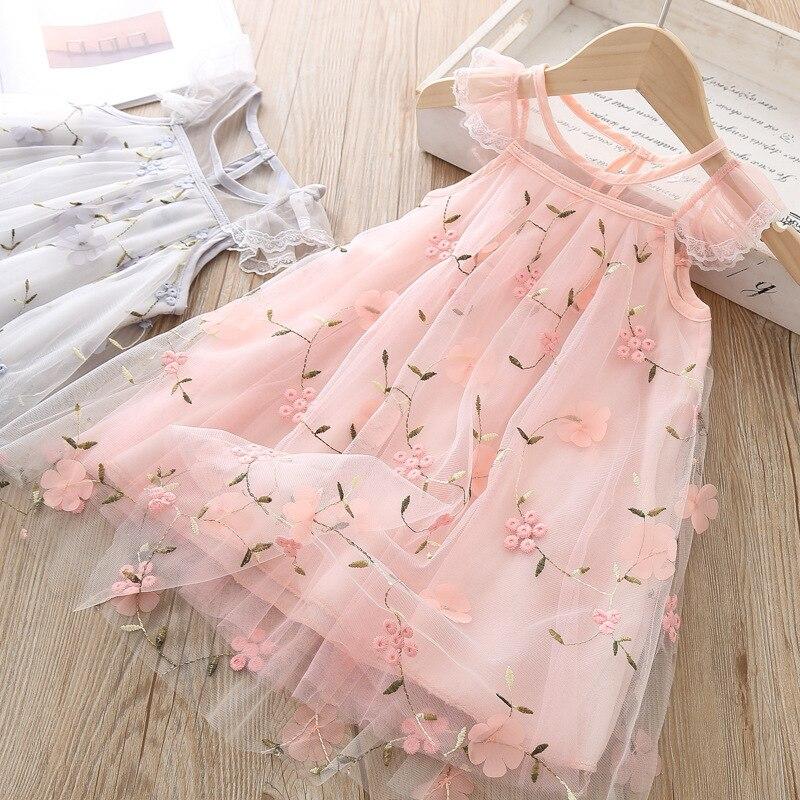 2020 Kids Girls Summer Casual Dress Baby Girls Flower Pattern Sleeveless Lace Design Kids Princess Dresses