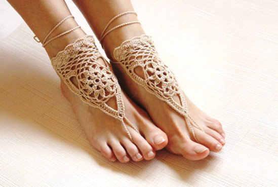 Plaża ślubna kość słoniowa szydełkowe ślubne sandały boso nagie buty biżuteria na stopy buty do jogi plaża Bridal Anklet