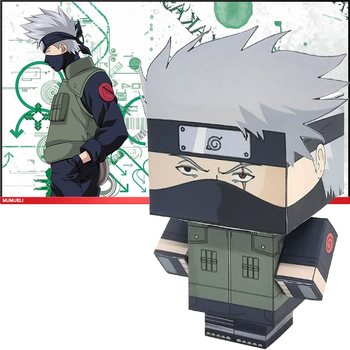 Naruto Hatake Kakashi Folding Cutting Mini Cute 3D Paper Model Papercraft Anime Figure DIY Cubee Kids Adult Craft Toys MG-018 image