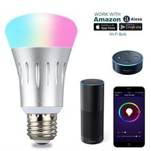 Smart WiFi Light Bulb Intelligent Colorful LED Lamp 7W RGBW APP Remote Control Works with Alexa Google for Stage Party Festival
