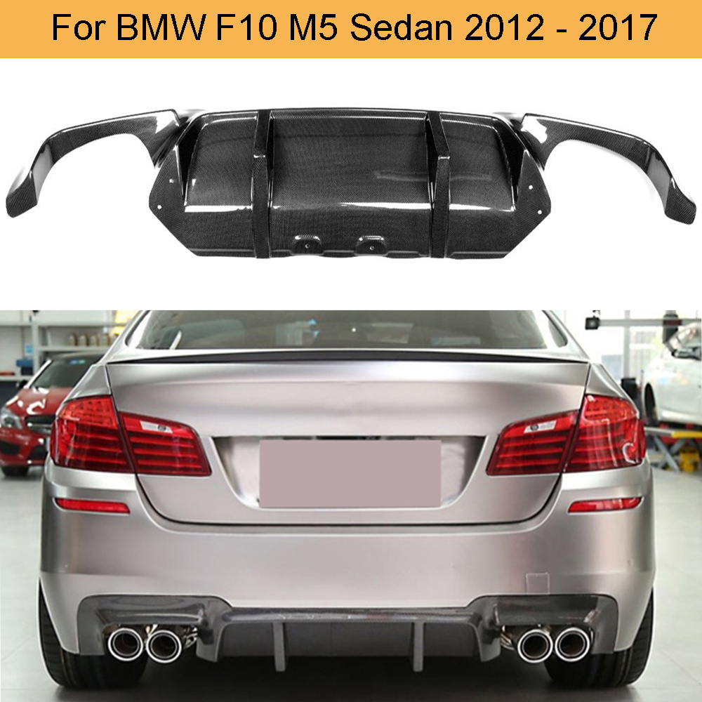 Car Rear <font><b>Bumper</b></font> Diffuser For <font><b>BMW</b></font> <font><b>F10</b></font> M5 Sedan 2012 - 2017 Grey FRP Carbon Fiber Car <font><b>Bumper</b></font> Lip spoiler Three Style image