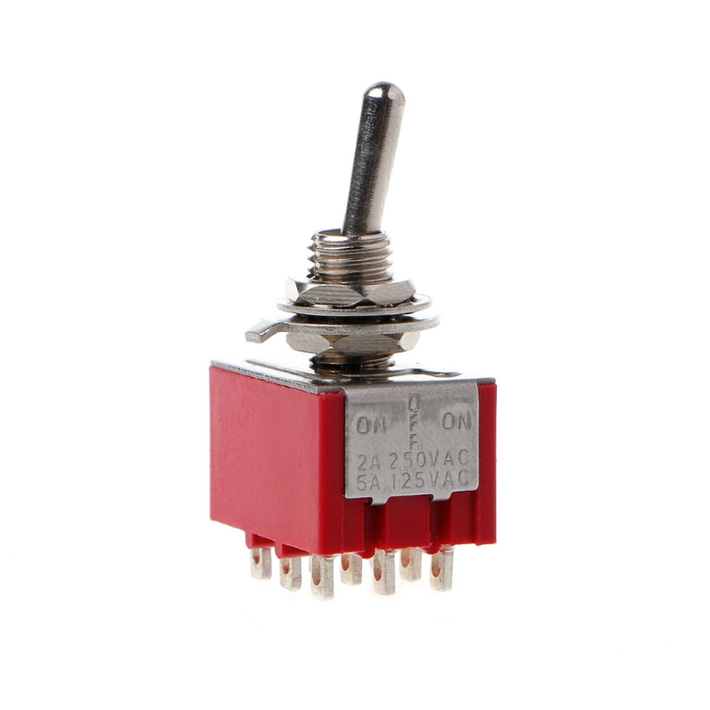 Rot <font><b>9</b></font> <font><b>Pin</b></font> AUF-OFF-ON 3 Position Mini Kippschalter AC 6A/125V 3A/ 250V image