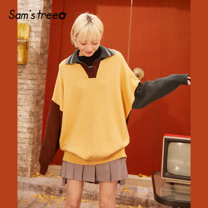 SAM'S TREE Yellow Colorblock Polo Collar Knit Pullover Women Sweaters 2020 Spring Brown Vintage Long Sleeve Casual Ladies Top