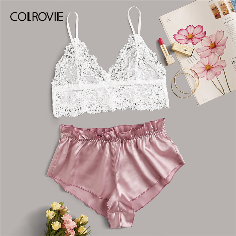 COLROVIE Contrast Lace Sheer Bralette With Satin Shorts Women Sexy Satin Lingerie Set 2020 Summer Sexy Sets Ladies Sleepwear