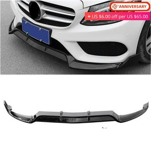 Front Bumper Lip Cover Trims Moulding For 2015 2016 2017 2018 Benz C Class W205 Sport DP Style Glossy Black /Carbon Fiber Color|Styling Mouldings|Automobiles & Motorcycles -