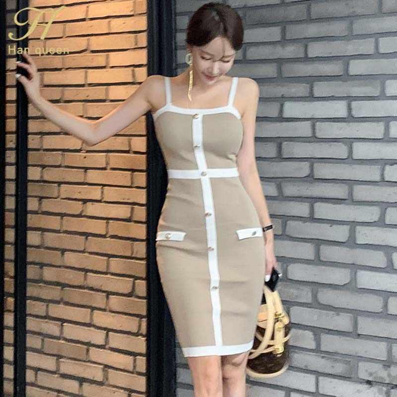 H Han Queen Sexy Spaghetti sangle tricoté moulante robe femmes 2019 automne Stretch élastique gaine robes nouveau OL dos nu Vestidos