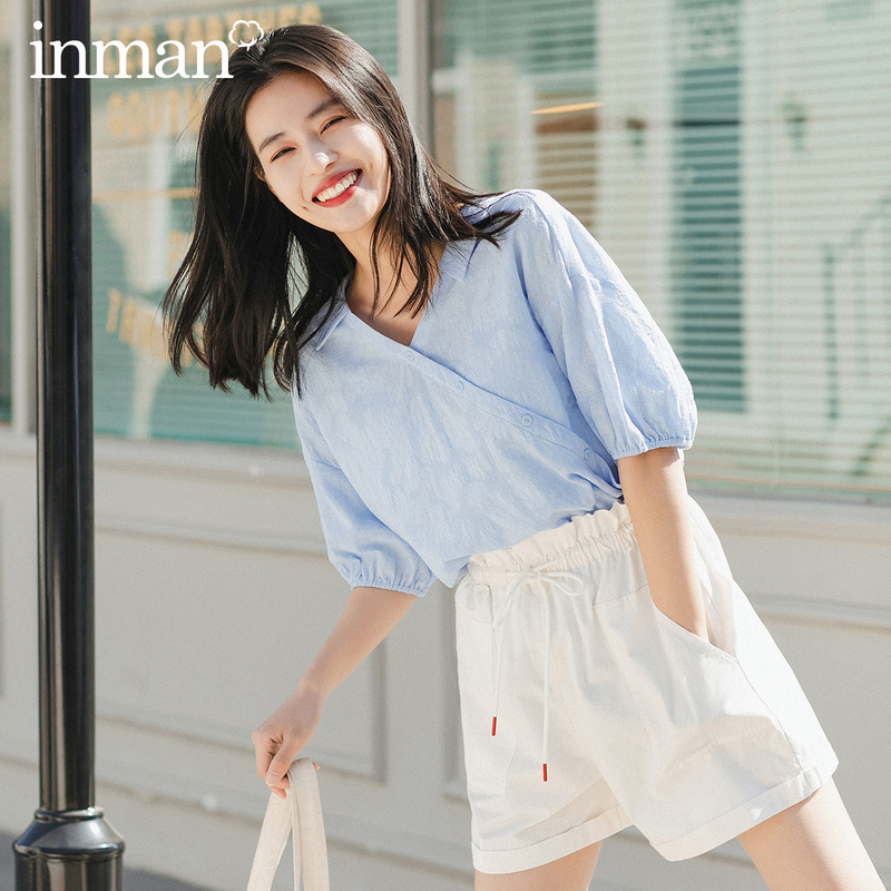 INMAN 2020 Summer New Arriavl Pure Cotton V-neck Improved Han Chinese Clothing Fashion Retro Blouse
