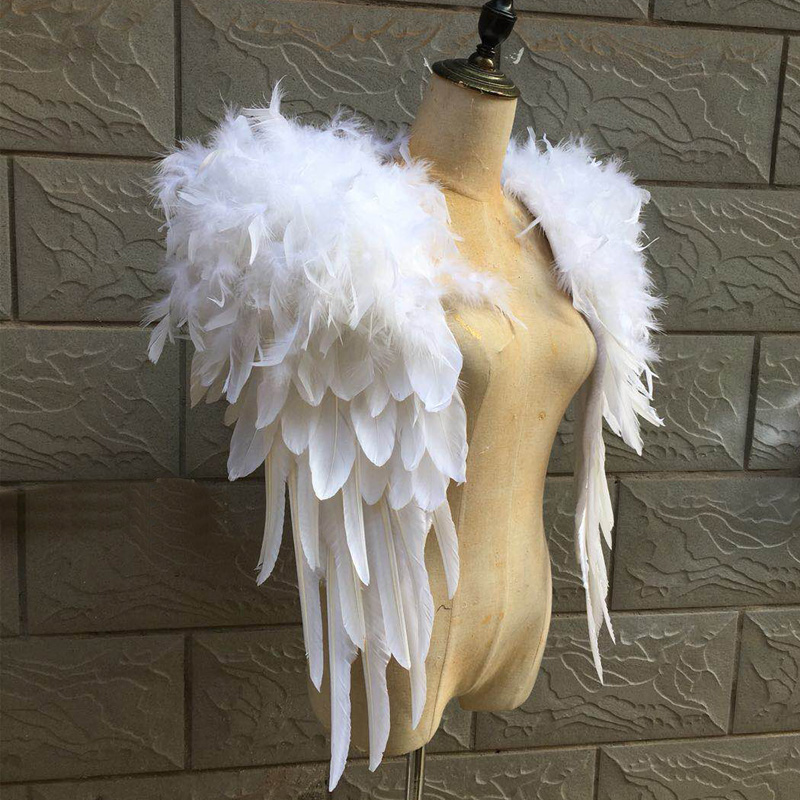 pink stage performance costume White feather shoulderwear Victoria Shawl model catwalk show photography prop