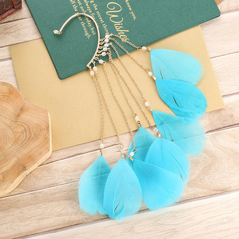 1 pieza Boho pluma Clip pendiente moda borla larga de cristal gota pendiente Azul Rojo oreja manguito verde pendiente joyería Bijoux regalo