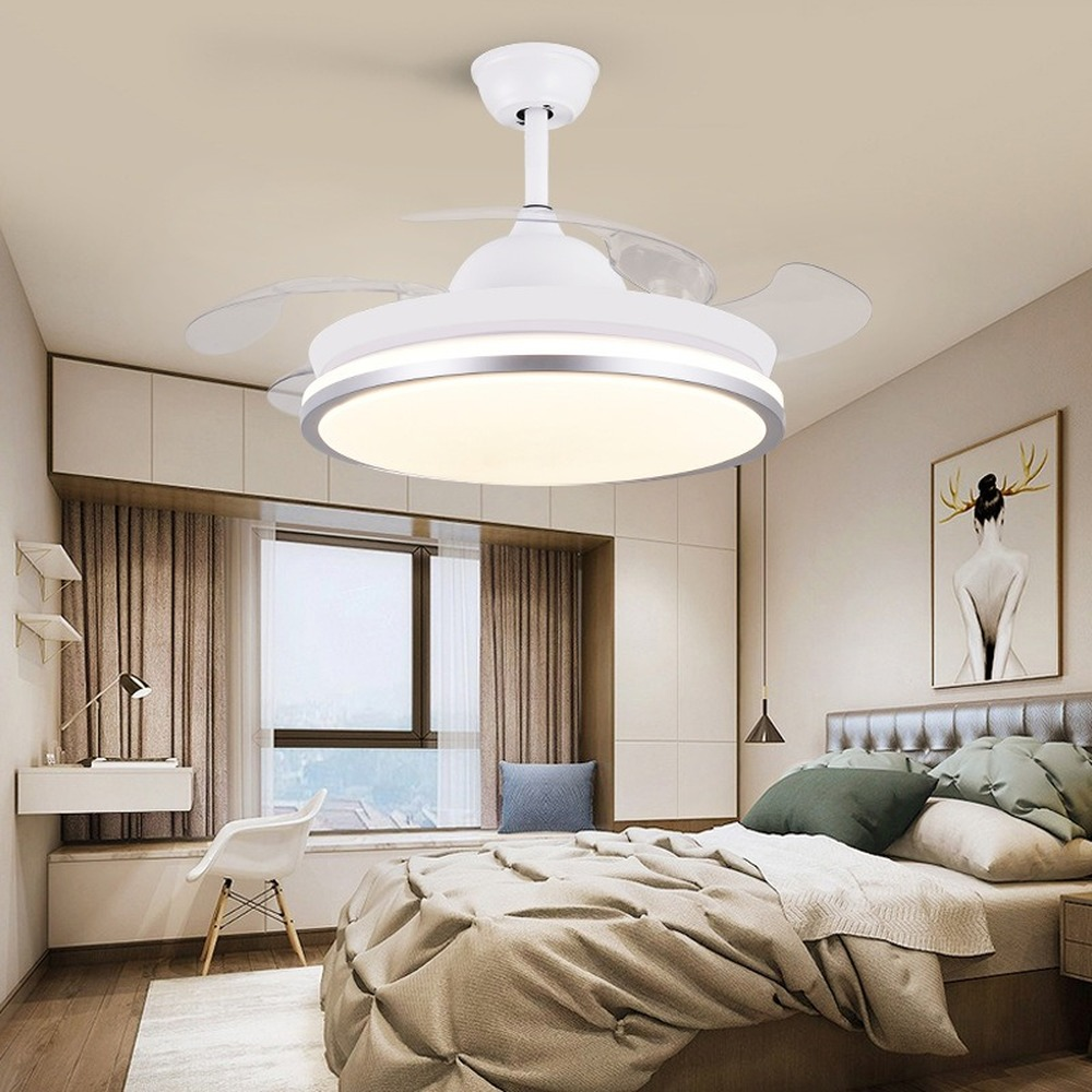 Gentle Dc Motor 42 Inch Led Ceiling Fan With Lights Remote Control Frequence Round Ventilator Lamp Bedroom Decor Reversible Retractable Strong Resistance To Heat And Hard Wearing
