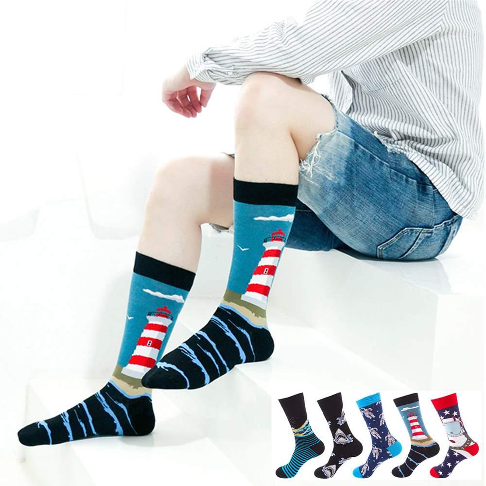 REFJJ 1 Pair Men Socks Combed Cotton Cartoon Animal Bird Shark Zebra Corn Watermelon Sea Food Geometric Novelty Funny Socks