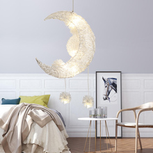 Nordic Moon Chandelier LED Aluminum Dandelion Chandelier Golden Hanging Lamps Decorative For Bedroom Living Room Fixture Lights