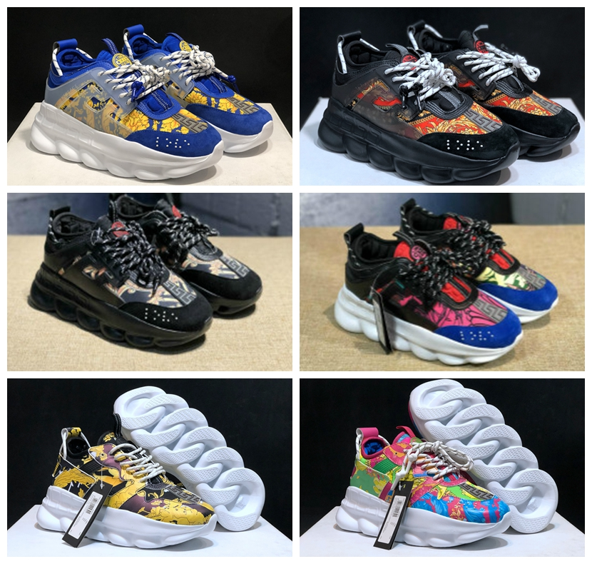 Fashion Designer Men And Women Sneaker Breathable Running Shoes Chain Reaction Suede Leather Trainers Cross Chainer Sport Shoes
