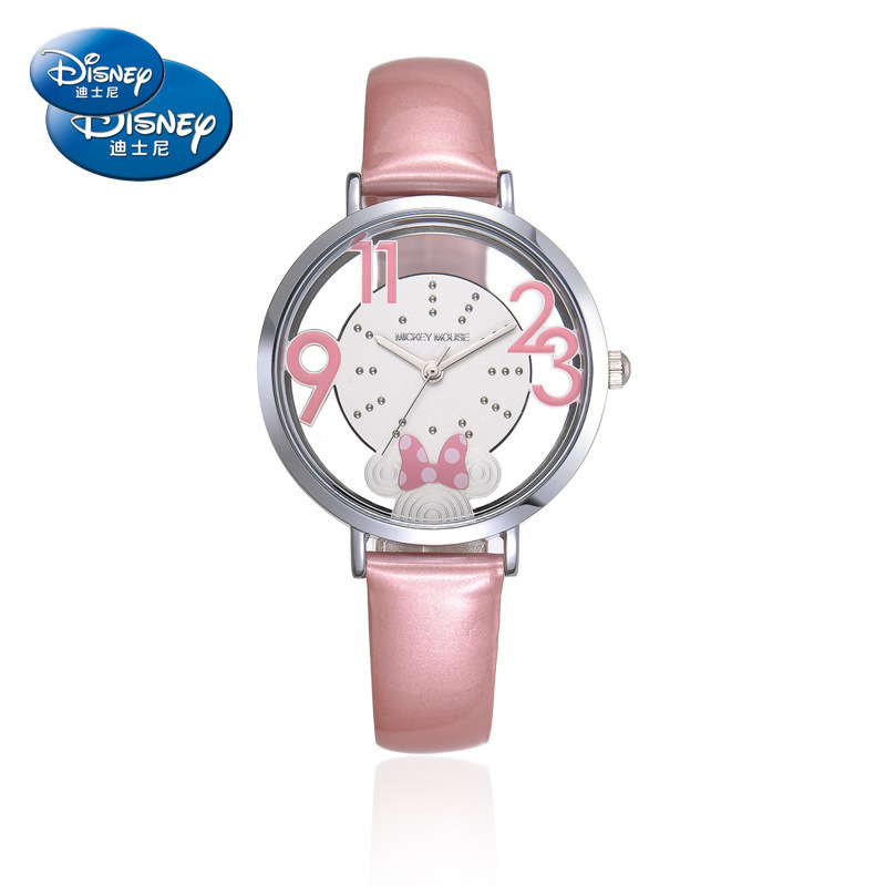 Disney Children's Quartz Wristwatch Boy Girl Watch And Gift Cute Trend Personality Minnie Mouse Kids Watch Water Resistant Alloy