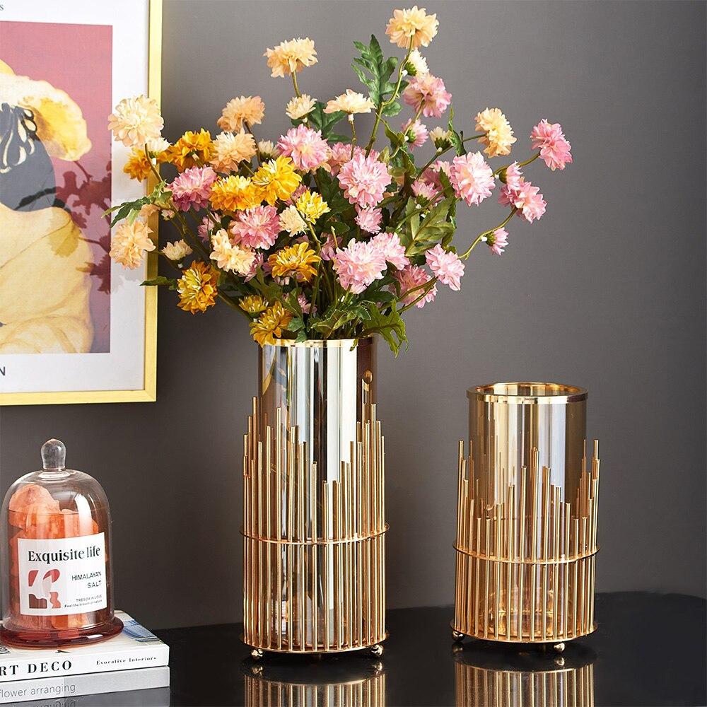 מודרני אור יוקרה פרח אגרטל שולחן קפה בסלון בית מתכת זכוכית אגרטלים לעיצוב פנים מחקר קישוט מתנה לחתונה