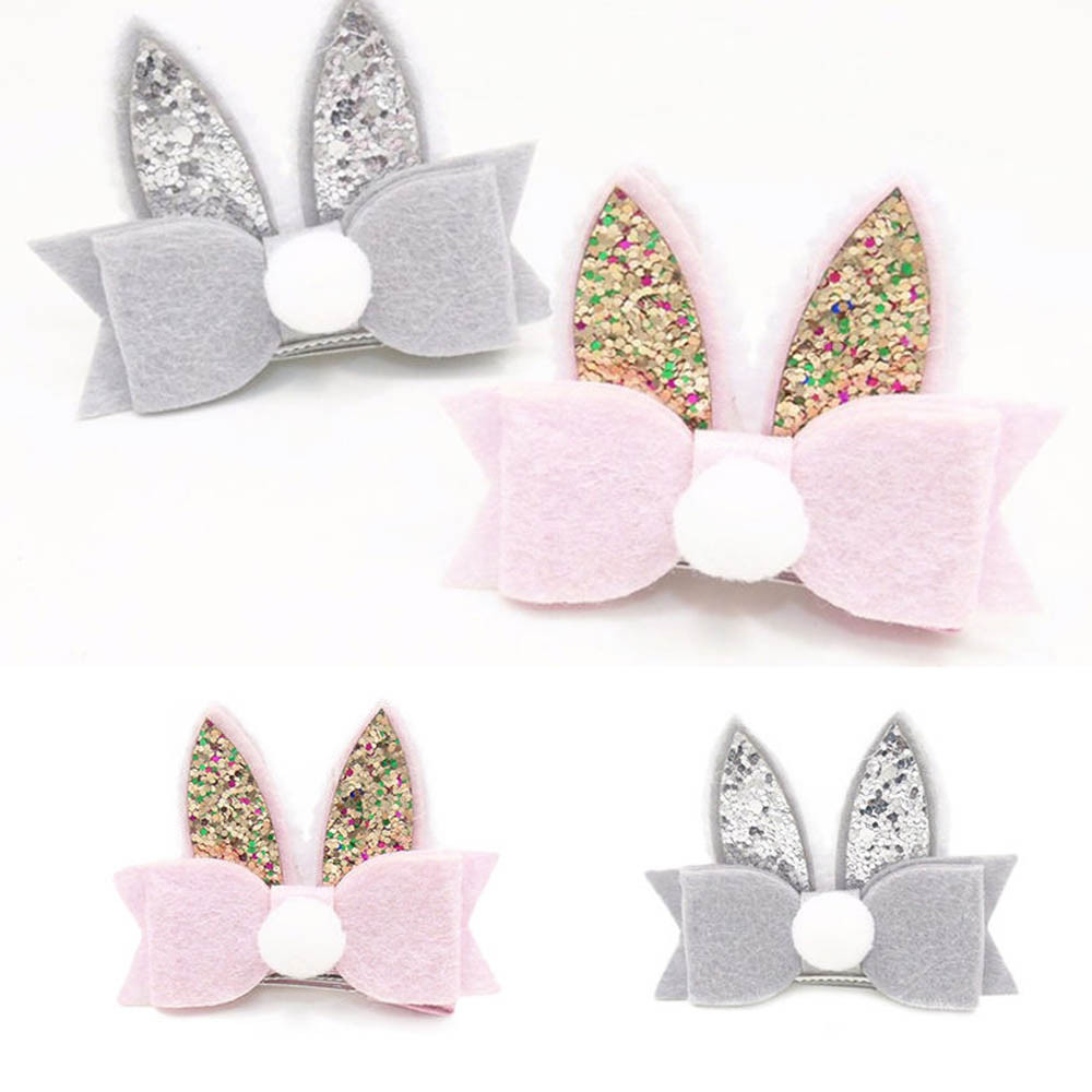 ARLONEET Girls High Quality Kids Hair Pin Baby Girls Toddler Kids PomPom Sequined Rabbit Ear Hair Clip Bow Hairpin Baby Barrette