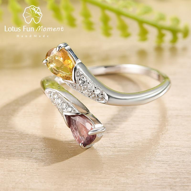 Lotus Fun Natural Tourmaline Gemstone Vintage Luxury Waterdrop Shape Ring Real 925 Sterling Silver Fine Jewelry Rings for Women