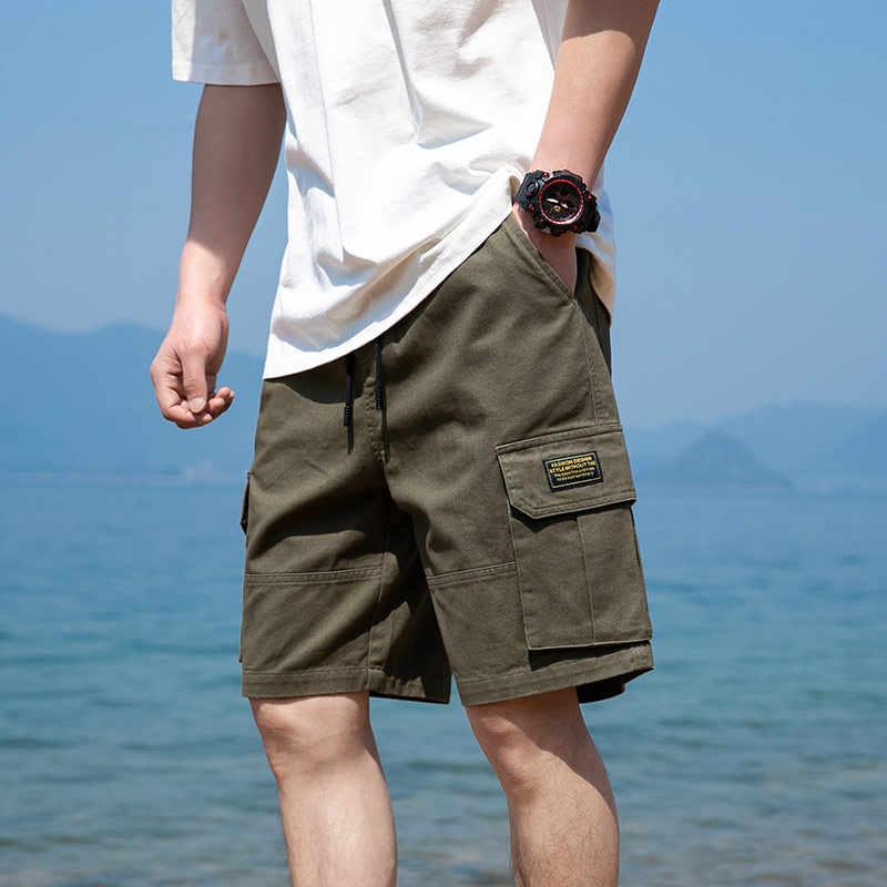 2020 גברים רב כיס מכנסיים קצרים מטען קיץ Mens אופנה היפ הופ Streetwear מקרית מכנסיים זכר Loose Fit קצר