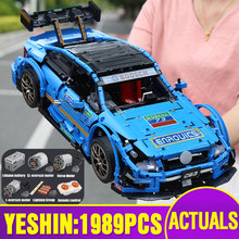 13073 APP teknik araba ile uyumlu MOC 6687 motorlu AMGed C63 DTM araba modeli yapı taşları tuğla çocuklar noel hediyeleri