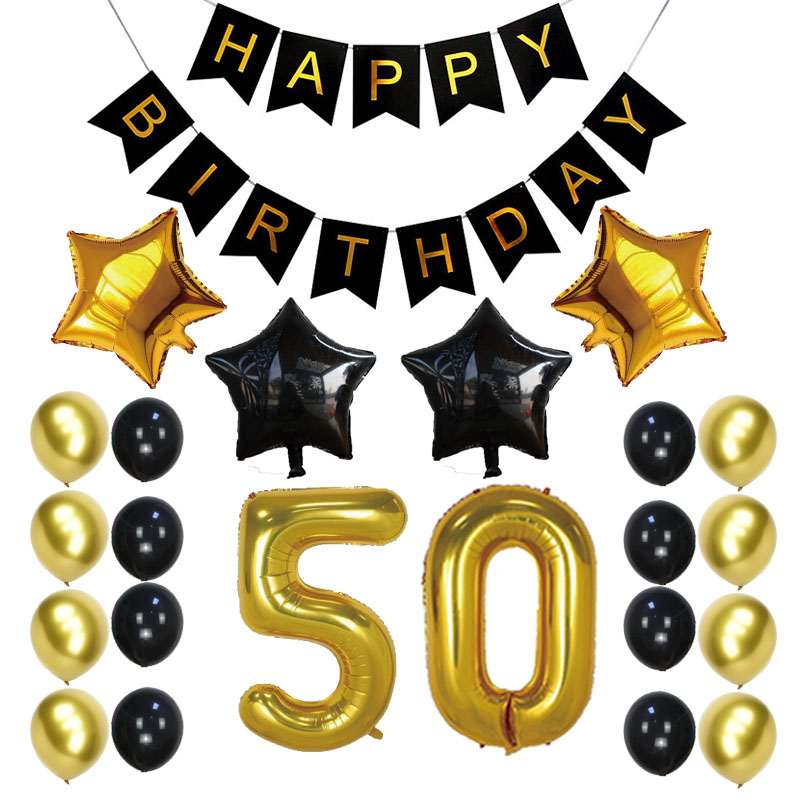 <font><b>20th</b></font> 50th 60th 70th <font><b>Birthday</b></font> Party <font><b>Decoration</b></font> Sets Happy <font><b>Birthday</b></font> Banner Gold Number Balloons 20 50 60 Years Old Party Supplies image