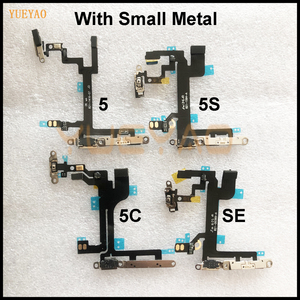 Power Flex For iPhone 4 4s 5 5s 5C SE Mute & Volume Button Switch On Off Key Power Flex Cable With Small Metal Holder Parts