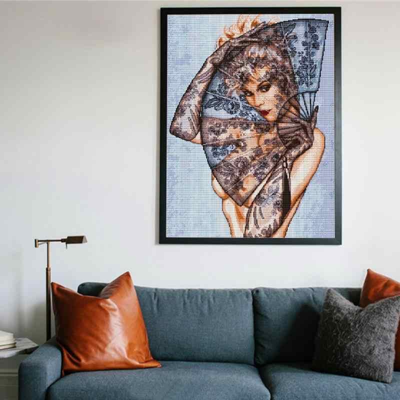 Sexy Schoonheid En Vouwen Fan Kruissteek Kit Karakter Patroon Afdrukken 11CT 14CT Handwerken Borduren Wanddecoratie Schilderij
