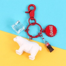 2019 New Hot cartoon Key Chain cute fashion Animal penguin Polar Bear jewelry for women girls setting Ring gift