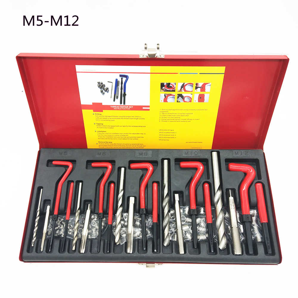 30Pcs//Pack Thread Repair Kits,Stainless Steel Twisted Drill Tap Wrench for Threaded Insert Repairing Tool,Size M4x0.7