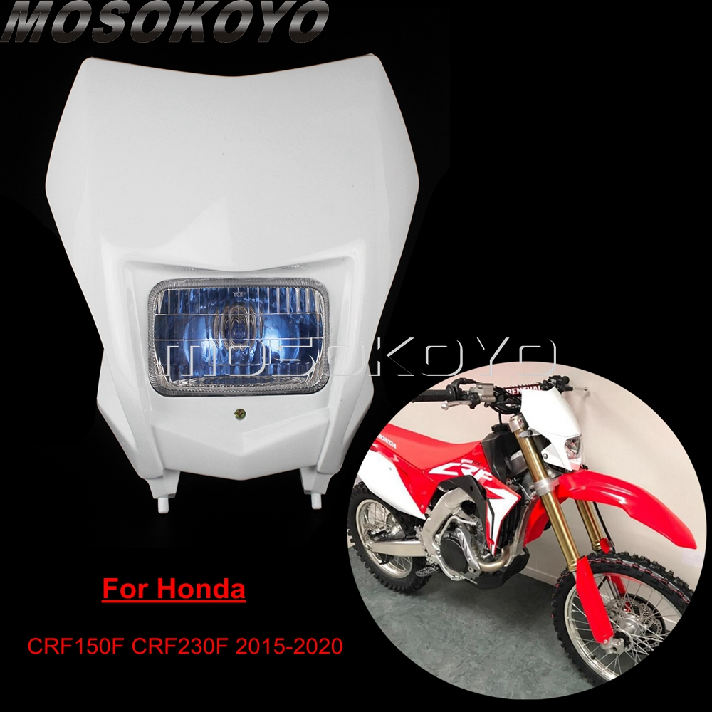 Dirt Bike Supermoto White 12v Headlight Motocross High Low Beam Head Lights For Honda CRF 150/230 F  CRF150F CRF230F 2015-2020