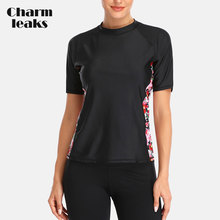 Charmleaks Women Short Sleeve Rashguard Swimsuit Floral Print Running Shirt Biking Surfing Top Swimwear Rash Guard UPF 50+