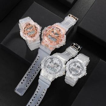 Модные спортивные парные часы, креативные прозрачные часы с двойным дисплеем для влюбленных, водонепроницаемые, с автоматической датой, дл...
