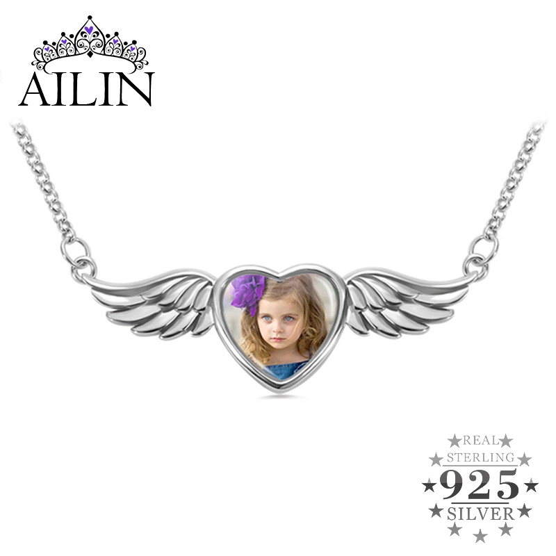 AILIN Personalized Picture Necklaces Custom Necklace for Women Angle Wing Photo Memorial 925 Silver Engraving Backside