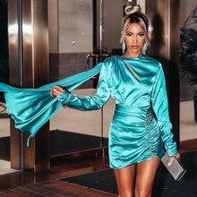Yesexy 2019 Solid Color Long Sleeve Round Neck Diamond Women Mini Party Dresses Elegant Female vestidos MQ146
