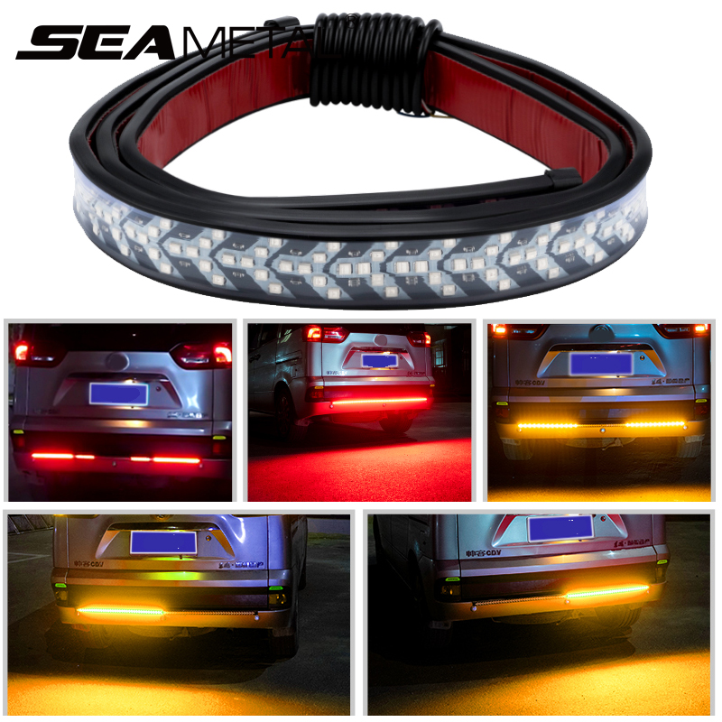 12V Car Brake Light Led Strip Flexible Auto Tailgate LED Strip Light Red Yellow Rear Tail Warning Signal Lamp For Pickup Truck