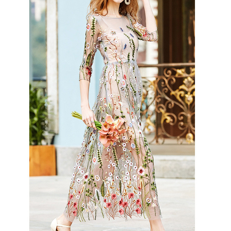 Embroidery Party Dresses Runway Floral Bohemian Flower Embroidered 2 Pieces Vintage Boho Mesh Dresses For Women Vestido 1