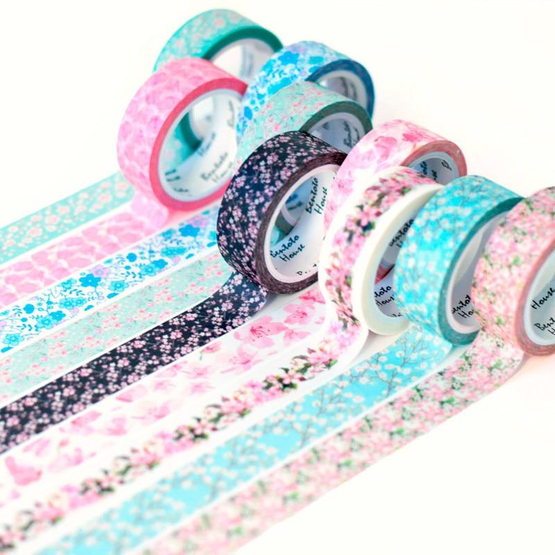 15 Colors Romantic Sakura Washi Tape DIY Decorative Scrapbooking Masking Tape Adhesive Label Sticker Tape Stationery 15MM*7M