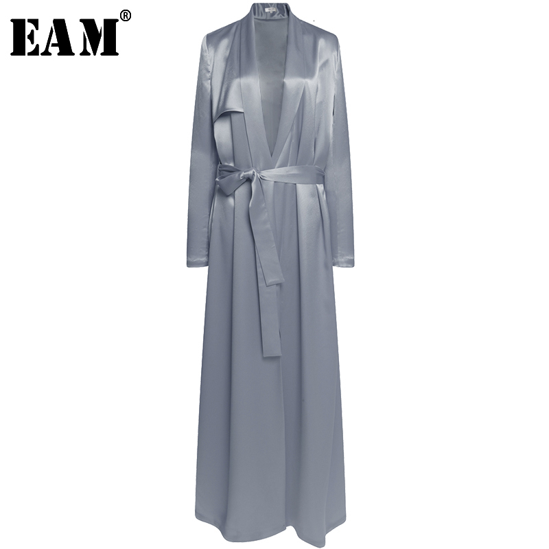 [EAM] High Quality 2019 Spring Loose Casual Thin Light Adjustable Waist Fashion New Women's Solid Color Long Wild Coat LA859