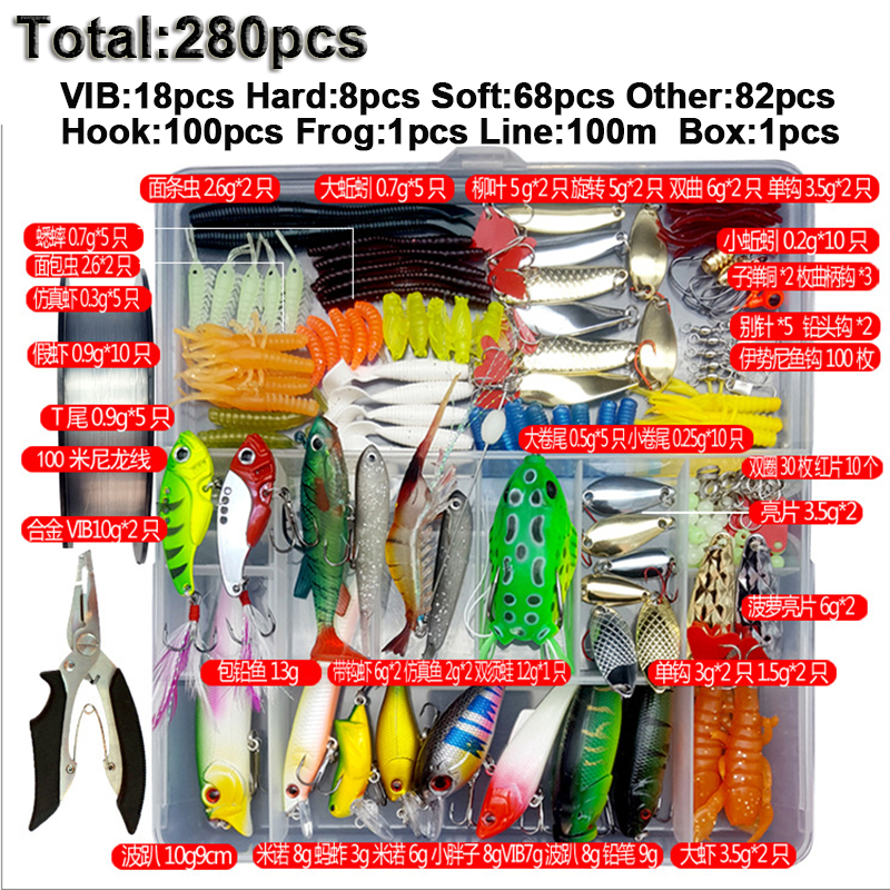 33/56/104/106/109/122/142/166/280pcs Fishing Lures Set Spoon Hooks Minnow Pilers Hard Lure Kit In Box Fishing Gear Accessories