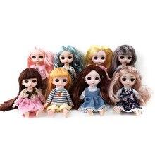 Lifelike móvel articulado boneca brinquedos para crianças 16cm 1/12 boneca do bebê bjd nu corpo forma bonecas para o presente de natal