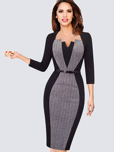 Bodycon Dress BELTED-WORK Spring Optical Contrast Illusion Business-Party Office Elegant