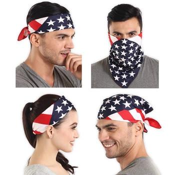 American Flag Bandanas for Men & Women Cotton USA Flag Print Large Handkerchief Unisex Patriotic Cowboy Head Scarf & Headband front knot american flag patriotic tee