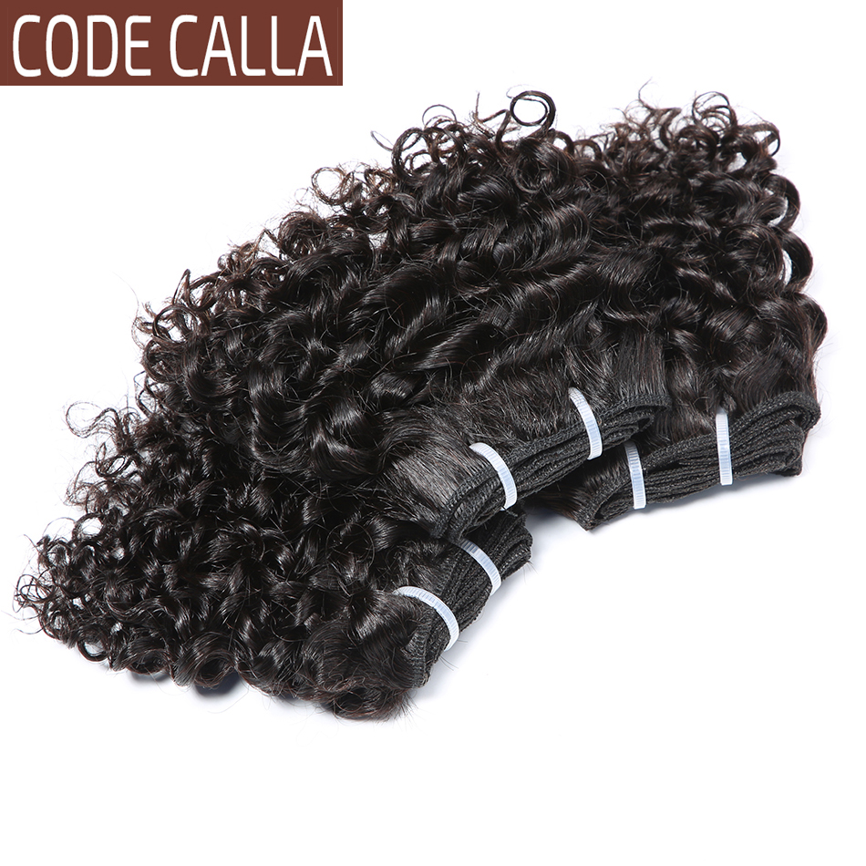 Code Calla Kinky Curly Hair Bundles Double Draw Malaysian Remy Human Hair Extensions Weft Natural Dark Brown And Black Color