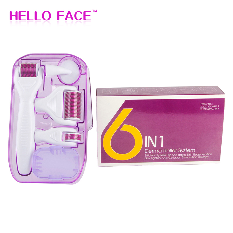 DRS 6 In 1 Derma Roller 12/300/720/1200 Needles MicroNeedle Therapy Dermaroller Kits For Skin Care Rejuvenation Treatment