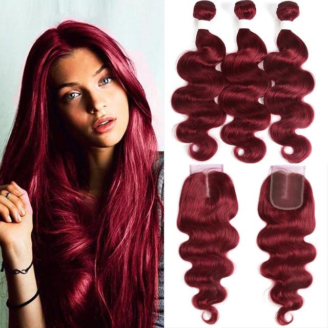 99J/bordowy czerwony kolor korpus fala ludzkich włosów 3 wiązki z zamknięcie koronki 4x4 X TRESS brazylijski nie remy włosy do przedłużania przedłużanie włosów