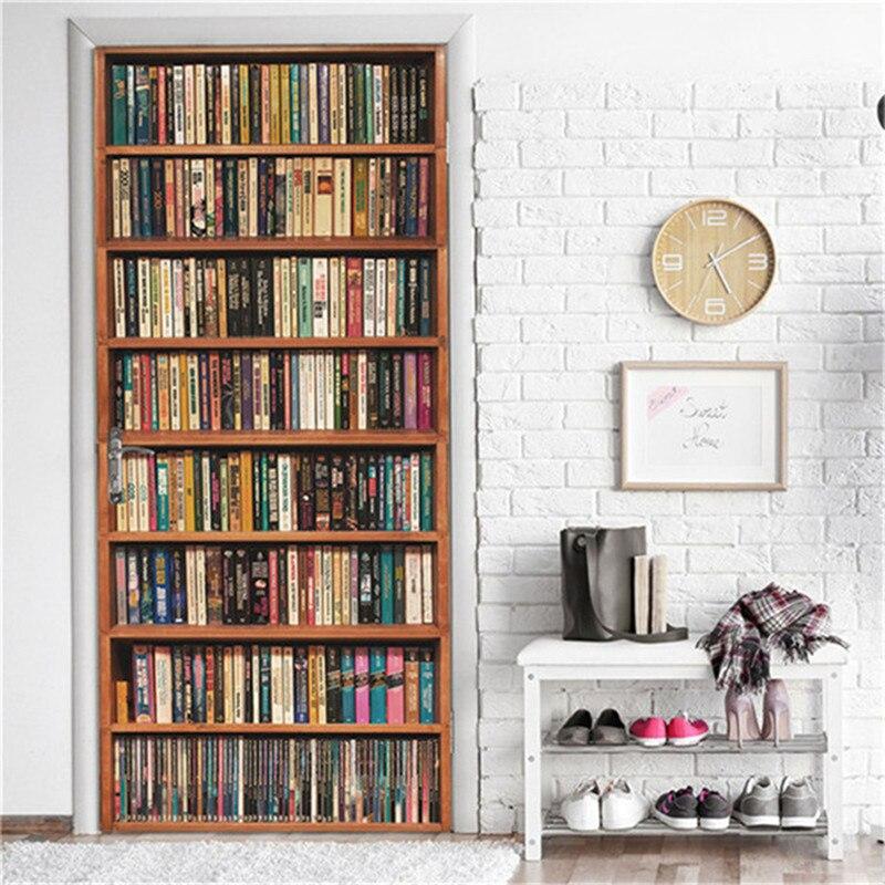 2PCS/Set Retro Library 3D Adhesive Door Wallpaper Waterproof Home Decor Living Room Mural Decal Sticker Book Of The Ocean Poster