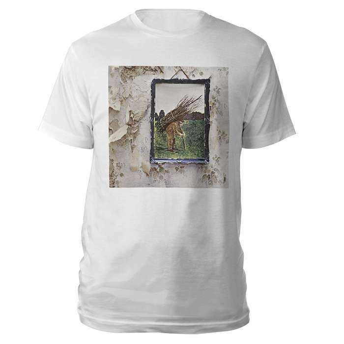 Led Zeppelin Iv Album Man With Sticks T Shirt White Nwt Licensed Official image