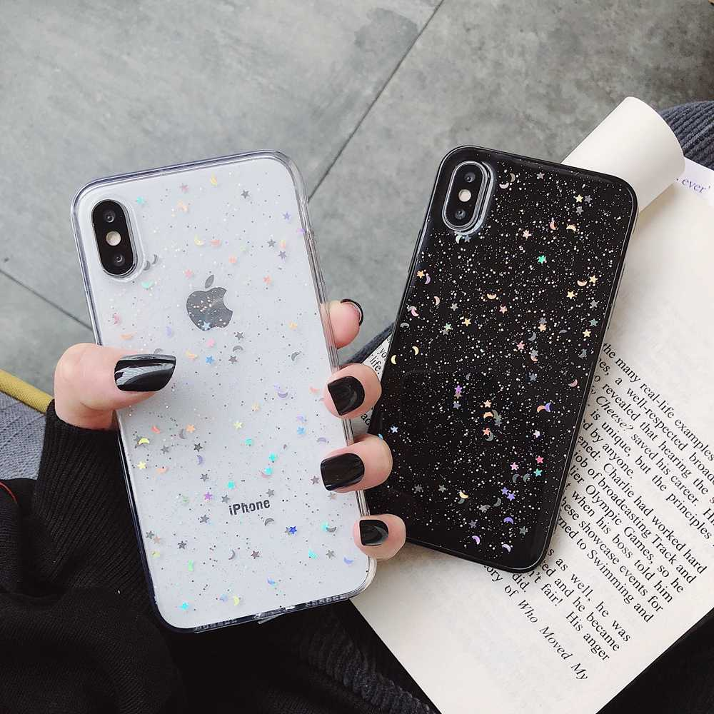 Bling Glitter Soft Case สำหรับ iPhone 7 8 6 6 S PLUS Star Moon Sparkle Sequins ซิลิโคน TPU ฝาครอบสำหรับ iPhone 11 PRO MAX XR X XS