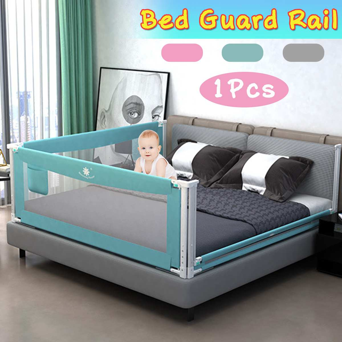 Baby Bed Fence Safety Baby Playpen Bed Guard Rail For Children Infants Kids Bedding Crib Barrier Aluminum 5-level Lifting Rails