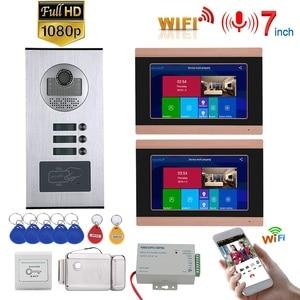 7 дюймовые часы с записью времени проводной Wifi видеодомофон 2 квартиры Система домофона с RFID 1080P дверной Звонок камера + Электрический замок ...