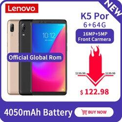 Lenovo snapdragon 636 k5 pro 6 gb + 64 gb 4050 mah quatro câmeras 5.99 polegada 18:9 telefone móvel 4050 mah 4g lte smartphone versão global